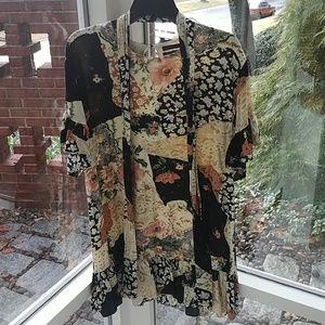 UO Comfy Patterned Mini Dress w/Waist Tie